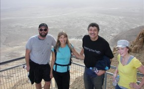"Producer Jeremy Steiner (""Pride of Hillsdale College""), Dr. Diane Medved, Michael Medved and assistant Karmen Frisvold (""Joy of Hillsdale College"") complete the Snake Path ascent of Masada--some 1,400 feet straight up above the Dead Sea below."