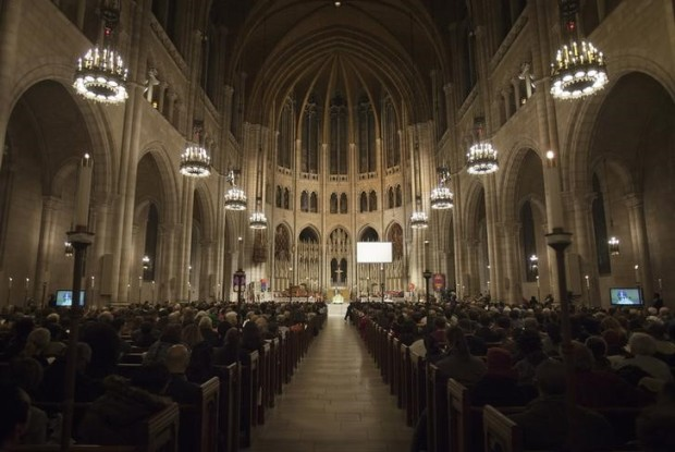The nave of the Riverside Church is seen during a memorial service for the late Nelson Mandela in New York