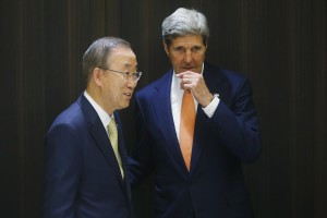 U.S. Secretary of State Kerry meets with U.N. Secretary-General Ban in Jerusalem
