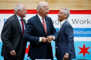 U.S. Vice President Joe Biden shares a laugh with Chicago Mayor Rahm Emanuel and Illinois Governor Pat Quinn after a round table discussion with small business owners in Chicago