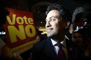 Britain's opposition Labour Party leader Ed Miliband campaigns against Scottish independence in a shopping centre in Edinburgh, Scotland