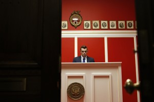 A staff member works at the office of Rep Aaron Schock (R-IL) on Capitol Hill