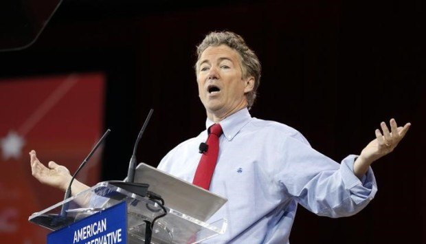 Senator Rand Paul of Kentucky speaks at the Conservative Political Action Conference at National Harbor in Maryland