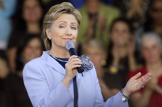"""U.S. Sen. Hillary Clinton (D-NY) speaks at a """"Club 44"""" campaign event for Clinton in Washington"""