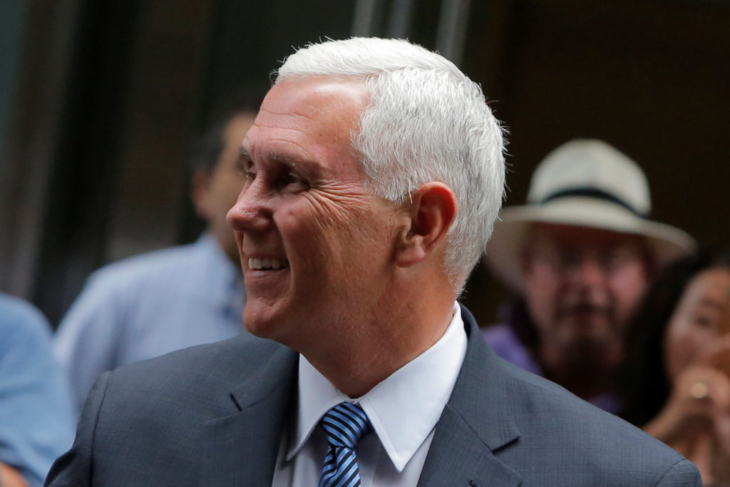 Indiana Governor Mike Pence arrives at Trump Tower in Manhattan, New York, U.S., July 15, 2016.  REUTERS/Andrew Kelly