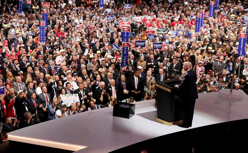 U.S. Republican Presidential Nominee Donald Trump speaks at the Republican National Convention in Cleveland, Ohio, U.S. July 21, 2016.  REUTERS/Rick Wilking