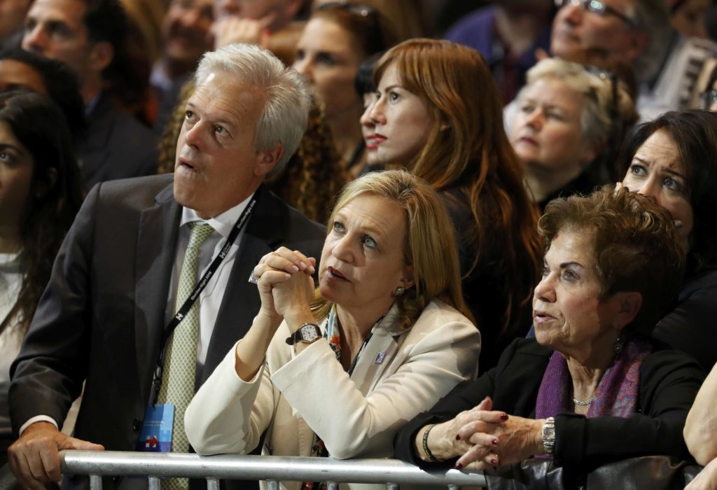 Supporters of U.S. Democratic presidential nominee Hillary Clinton watch results at her election night rally in Manhattan, New York, U.S., November 8, 2016.  REUTERS/Lucas Jackson