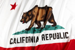 close up shot of wavy state flag of California