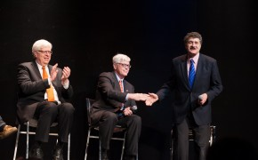 (from left to right) Dennis Prager, Hugh Hewitt, and Michael Medved