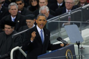 U.S. President Obama delivers his inaugural address during inauguration ceremonies in Washington