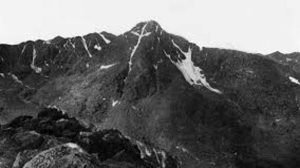 Historic image of the Mountain of the Holy Cross, Colorado; by W.H. Jackson, 1873