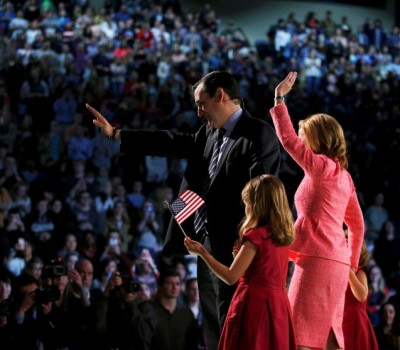 U.S. Senator Cruz stands with family after confirming his candidacy for president in Lynchburg, Virginia