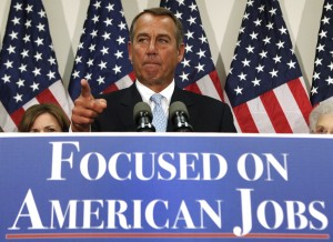 U.S. House Speaker Boehner speaks during a GOP news conference on the &quot;fiscal cliff&quot;, in Washington