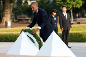 U.S. President Barack Obama lays a wreath at a cenotaph at Hiroshima Peace Memorial Park in Hiroshima, Japan May 27, 2016. REUTERS/Toru Hanai